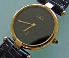 2275b211e10 MUST de RONDE VERMEIL CARTIER VINTAGE Gold Plaque Silver Watch Uhr men  ladies