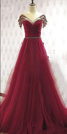 Charming Burgundy Prom Dresses,Beaded Handmade Prom Gowns,Long Prom #prom #promdress #dress #eveningdress #evening #fashion #love #shopping #art #dress #women #mermaid #SEXY #SexyGirl #PromDresses
