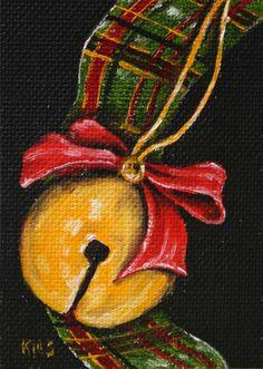 Christmas jingle bell ACEO original painting