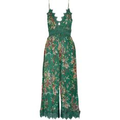 Zimmermann Tropicale printed crinkled silk-georgette jumpsuit (£565) ❤ liked on Polyvore featuring jumpsuits, jumpsuit, zimmermann, dresses, jump suit, green jumpsuit, wide leg jumpsuits, multi colored jumpsuit and colorful jumpsuit