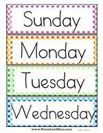 Days of the Week Printables