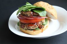 High protein burgers with a kick! These burgers contain black beans and hemp seeds and are seasoned with smoked paprika, garlic and a pinch of cayenne.