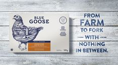 Love to see badass illustration featured so prominently. New Logo Identity and Packaging for Blue Goose Pure Foods by Sid Lee Packaging World, Egg Packaging, Organic Packaging, Packaging Design, Branding Design, Corporate Design, Corporate Identity, Chicken To Go, Grilling Gifts