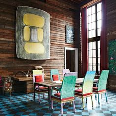 Tour @vitomschnabels art-packed Palazzo Chupi apartment in the new issue of #nymag and at the link in our profile. We are friends he says of his father the artist Julian Schnabel and we have a dialogue about art. I give him my two cents; he gives me his. And that includes the covetable multicolored cast-bronze-with-velvet chairs he designed for Schnabels dining-room table. Vito Schnabels art collection also includes Ron Gorchovs 5th One which hangs on the reclaimed-Douglas-fir walls between…
