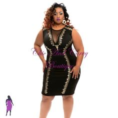 Every woman needs a Little Black Dress well we have the perfect LBD  New Plus Size Bodycon Gold Studded in Black available at http://www.chicandcurvy.com/bodycons/product/9281-a-new-plus-size-bodycon-gold-studded-in-black-l-1x-2x-3x