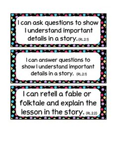 2nd Grade Common Core I-Can statements