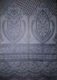 Hand Embroidery Design Patterns, Lahenga, D1, Islamic, Designer Dresses, Pattern Design, Sketches, Tapestry, Saree