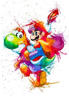 Cool watercolour artwork of Mario and Yoshi ☺ Super Mario Kunst, Super Mario Art, Super Mario World, Super Mario Tattoo, Mario Fan Art, Yoshi, Mario Und Luigi, Nintendo Characters, Nintendo Pokemon