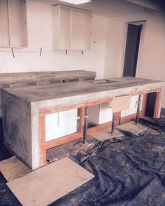 Yesterday's job stripped and troweled 40mpa . #polishedconcretetable #concretekitchenbenchtop #dunsborough  by hone_stone_w.a