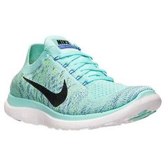 Women's Nike Free 4.0 Flyknit Running Shoes - 717076 300 | Finish Line These are just the right color I think for Periwinkle shoes. Plus they're low profile like I wear and I can stick a white pompom on top.