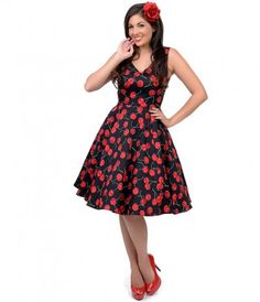 Make way for a mouthwatering maraschino delight, dames! The misses swing is a ladylike frock in a black and red cherry p...Price - $54.00-effCCKQd