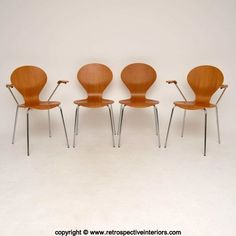 SET OF 4 DANISH RETRO STACKING DINING CHAIRS BY DANERKA  in Antiques, Antique Furniture, Chairs | eBay!