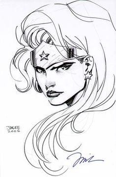 Jim Lee Wonder Woman Head Drawing Justice League DC Comics Sexy | eBay