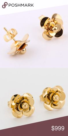 Gold Tone Fashion flower earrings Stainless Steel gold tone fashion earrings.  Perfect size for everyday wear or work. Sturdy construction. Jewelry Earrings #GoldJewelryearringsfashion