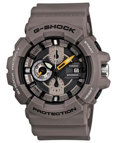 G-Shock Watch, Men's Chronograph Gray Resin Strap 53x55mm GAC100-8A - All Watches - Jewelry & Watches - Macy's