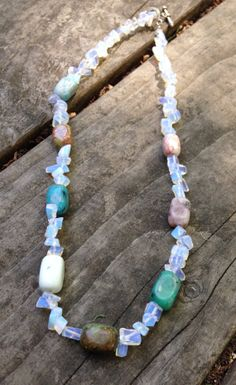 Moonstone and Agate Bead Necklace by TripIntoLight on Etsy, $8.00