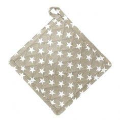 Krasilnikoff Topflappen sand mit weißen Sternen