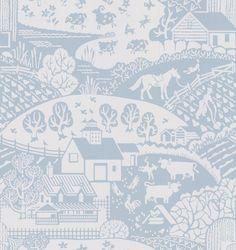 Gable by Farrow & Ball - Blue - Wallpaper : Wallpaper Direct Boys Wallpaper, Nursery Wallpaper, Bathroom Wallpaper, Wallpaper Ideas, Apartment Color Schemes, Blue Wall Colors, Neutral Pillows, Bedroom Paint Colors, Blue Wallpapers