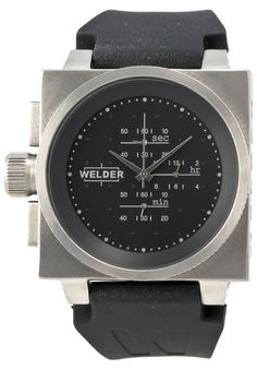 Price:$249.00 #watches Welder K26-5200 CS BK-WI, Welder is the trendy new men's watch line created by U-Boat designer Italo Fontana . These oversized Italian masterpieces come in all shapes and sizes varying from the big 40mm K25 watches to the tremendous 53mm K29 watches. They are truly unique pieces in both the square and circular varieties, chronograph and traditional.