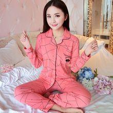 188b4102f23df 2017 Nouvelles Femmes Pyjamas Set 100% Coton Pyjamas Pyjamas Printemps Et  Automne Fille À Manches