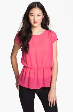 With long necklace. Halogen Flutter Sleeve Peplum Blouse available at #Nordstrom