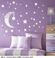 moon and stars decals from etsy Baby Nursery Decor, Baby Bedroom, Kids Bedroom, Girls Bedroom Colors, Big Girl Bedrooms, Asian Paints Wall Designs, Star Themed Nursery, Room Wall Painting, Purple Rooms