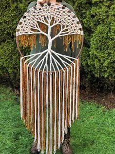 Large Tree of Life macrame wall hanging hand woven with cotton and wool fibers.