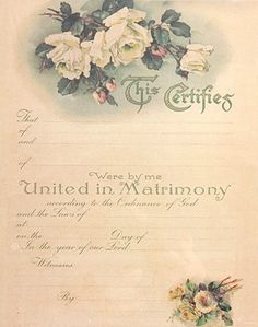 Victorian style marriage certificate. by HeirloomFashions on Etsy https://www.etsy.com/listing/182683846/victorian-style-marriage-certificate