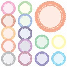 Pastel Scallop Circle Digital Frames, Circles Clip Art, Digital Clipart, Digital Download, Clipart Frame, Frames Clipart, Digital Labels.