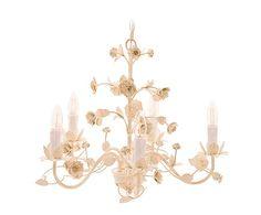 Lámpara de techo de madera DM con 6 luces Bea - blanco y marfil