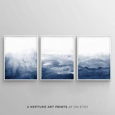 Indigo Aquarell Druck Aquarell Kunstdruck Wand abstrakte