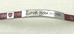"""Stainless Steel """"Love You More"""" Bracelet Red Heart Leather 8"""" Buckle"""