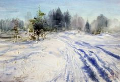 wintwr road Watercolour, Snow, Winter, Outdoor, Pen And Wash, Winter Time, Outdoors, Watercolor Painting, Watercolor