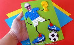 bricolage fete des peres carte foot champion super papa perles hama