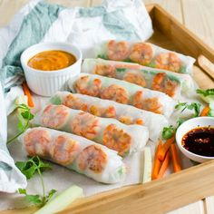 Easy to make, gluten free and healthy Vietnamese spring rolls with creamy peanut butter sauce.