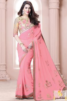 Latest pink cream color chiffon net dhupion saree for mahendi occasion in India. This attractive saree will suits to all ages of women. Purchase this saree online now #saree, #designersaree more: http://www.pavitraa.in/store/party-wear-saree/
