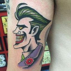 O Joker is among the most iconic and standard characters in comics and cinema. Created in 1940 by the American publishing home DC Comics, O Joker performs the genius roles of crime and mortal Tattoo Project, American Traditional, Joker Tattoos, I Tattoo, Traditional Tattoos, Eccentric, Plays, Dc Comics, Batman
