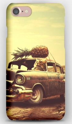 iPhone 7 Case Creative, Hand, Surrealism, Car, Clock, Pineapple, Cat