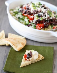 Layered Greek Dip is a quick, make-ahead appetizer with fresh mediterranean flavors.