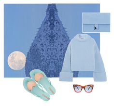 """""""moon on the man or man on the moon?"""" by roxariaone ❤ liked on Polyvore featuring Dora, Jil Sander, CÉLINE, love, personalstyle, polyvorecommunity, polyvoreset and bluepalette"""