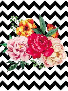 Poster - Flores e chevron Cute Fall Wallpaper, Cute Wallpaper Backgrounds, Floral Backgrounds, Cellphone Wallpaper, Iphone Wallpaper, Chevron, Graffiti Wall Art, Flamingo Art, Airbrush Art