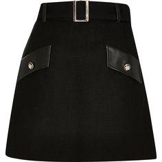 Black boucle pu mini skirt