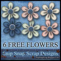 Snip Snap Scrap: Free Kit 36 Flower Pack 1 Digi Scrapbook Flowers