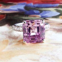 Estate Pink Purple Kunzite Diamond Cocktail Statement Ring 18k White Gold