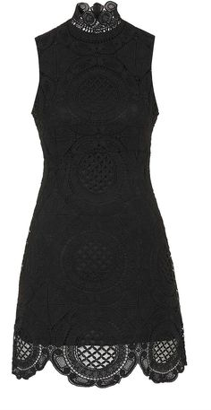 Womens black high neck crochet shift dress by rare from Topshop - £50 at ClothingByColour.com