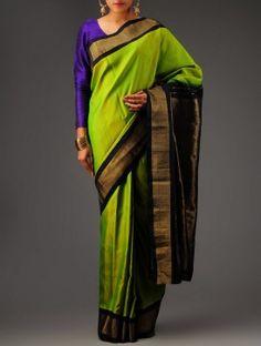 Black-Green Kanchipuram Silk Saree
