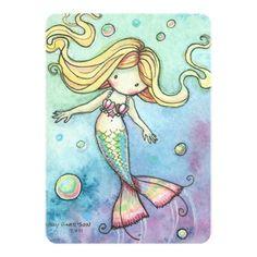 Cute Mermaid Birthday Party Invites for Girls