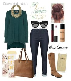 """""""Cashmere"""" by curvy-and-modest ❤ liked on Polyvore featuring Kate Spade, Mat, aprico, Liz Claiborne, BaubleBar, Bare Escentuals, ban.do, SOREL, Le Specs and Modest"""