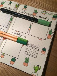 Bullet journal weekly spread, cactus theme #bulletjournal #bujo #cactus #weekly