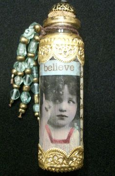 mixed media collage small altered bottle Believe by ManicMahem, $12.50